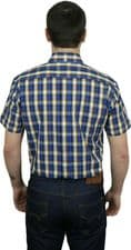 Relco Mens Blue Yellow Check Short Sleeve Button Down Shirt Spring '21 Range
